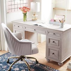 Shop chelsea desk from Pottery Barn Teen. Our teen furniture, decor and accessories collections feature fun and stylish chelsea desk. Create a unique and cool teen or dorm room. Home Office Decor, Office Furniture, Home Decor, White Furniture, Office Chairs, Office Ideas, Furniture Buyers, European Furniture, Couch Furniture