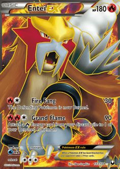 [R][C] Fire Fang: 30 damage. The Defending Pokemon is now Burned. [R][R][C] Grand Flame: 90 damage. Attach a [R] Energy from your discard pile to 1 of your Benched Pokemon. Pokemon Entei, Pokemon Real, Pikachu, Type Pokemon, O Pokemon, Full Art Pokemon Cards, Pokemon Cards Legendary, Rare Pokemon Cards, Pokemon Trading Card