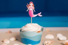 Beach Party / Mermaid Party Cupcake wrappers and toppers by FestivaPartyDesign, $20.00
