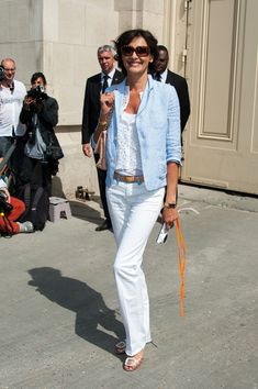 Ines De La Fressange attends Chanel Haute Couture Fall-Winter 2013-2014 fashion show at the Grand Palais in Paris.