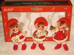 Vintage Christmas larger Santa Pixie Elf Band figurine Napco Ornament Decoration Japan with hair Original Box. $50.00, via Etsy.