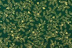 Dekorationsstoff Baumwolle - Stechpalmenzweige - Grün/Gold