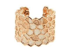 MONIKA KNUTSSON HONEYCOMB CUFF Love her rose gold pieces: Her jewelry is amazing as she dips vintage lace in gold.