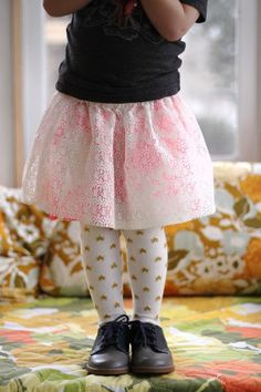 Handmade lace skirt. Sparkly tights. {Smile and Wave}