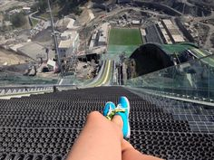View from the top of the Olympic ski jump in Sochi, Russia...yowser!