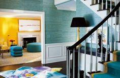 turquoise seagrass walls foyer   foyer   Pinterest