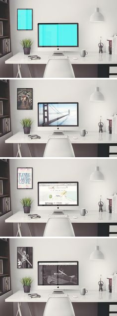 Creat a hero workspace scene for your next project with this iMac Retina 5k Office Free PSD MockUp template. You will add your designs on the screen and the frame, plus it allows you to create the perfect scene by editing the plant and the lamp easily with smart objects included.