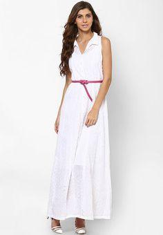 a5c3fb2b7fd White Colored Solid Maxi Dress