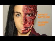 Two Face Harvey Dent Halloween Makeup Tutorial - YouTube