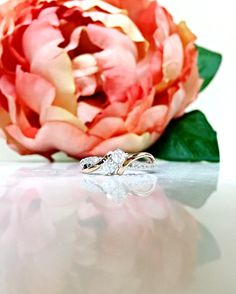 Lady's Two-Tone Rose gold and White Gold 14 Karat Anniversary Ring With 2=0.33Tw Round Diamonds And 0.17Tw Round Diamonds
