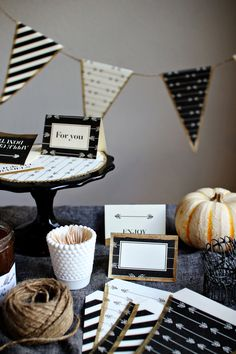 Adorable FREE printable party decorations, black and white patterned banner, place cards, menu cards, invitations, thank you's, treat table sign. Just add a little gold or silver glitter to give it BLING