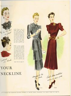 Butterick 8130 and 8098 in Butterick Fashion Magazine, Winter 1938-39