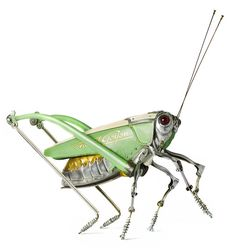 "Scrap Metal Transformed into Insect Sculptures by Edouard Martinet. ""When Edouard Martinet was one of his teachers introduced his pupils to insects, Sculpture Metal, Modern Sculpture, Metal Animal, Old Car Parts, Bike Parts, Arte Steampunk, Arte Robot, Insect Art, Scrap Metal Art"