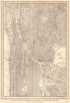 Antique MANHATTAN Map Of New York City Map Print Black Maps - Manhattan us map