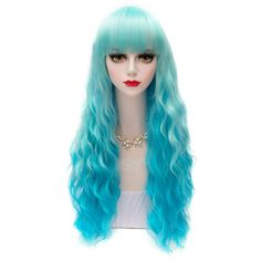 Heat-Resistant 60CM Corn Curly Hair Full Bang Sweet Stylish Lolita Style Blue Ombre Cosplay Wig