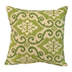 """Indoor/outdoor throw pillow with an ikat motif. Eco-friendly.   Product: PillowConstruction Material: PolyesterColor: GreenFeatures:  Eco-friendly Insert includedUV-Resistant outdoor fabricsOverstuffed construction for extra comfort and longevityCircle tufted with string ties to fasten securely Dimensions: 17"""" x 17"""""""