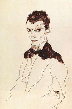 Egon Schiele Self Portrait Drawing