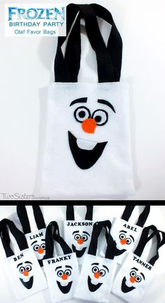 Disney Frozen Olaf Party Favor Bags - so adorable and one of our favorite crafts from our Frozen Birthday Party.  And for more Frozen Party Ideas follow us at http://www.pinterest.com/2SistersCraft/