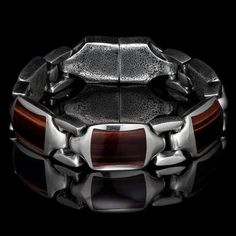This exotic William Henry men's bracelet boasts rare year-old red brown dinosaur bone fossils set in beefy cross-shaped links of sterling silver. Mens Link Bracelet, Link Bracelets, Bracelets For Men, Mens Skull Rings, Cool Rings For Men, Black Armor, Sterling Silver Mens Rings, Red Tigers Eye, Mens Chain Necklace