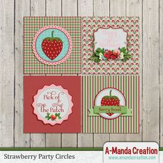 Strawberry Birthday Party Printables from #AmandaCreation  Gorgeous strawberry themed printables to make your party stand out from the rest!  These strawberry printable party circles  are a perfect way to tie in your theme throughout your entire party!