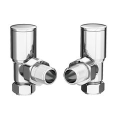 Modern Angled Radiator Valves - Chrome at Victorian Plumbing UK Stainless Steel Towel Rail, Stainless Steel Radiators, Bathroom Radiators, Towel Radiator, Radiator Valves, Heated Towel Rail, Heating Element, Central Heating