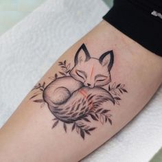 Beautiful Sleeping Fox Tattoos on Women Hand