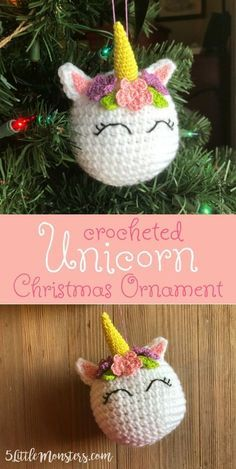 Free pattern for a crocheted Unicorn Ornament. It is a crocheted ball with a horn ears and flowers on the head. Eyes are embroidered. Perfect Christmas ornament for a little girl or anyone who loves unicorns.