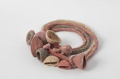 Dusty Pink Beige Crocheted Necklace Scarf by natartg on Etsy