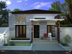 53 ideas exterior house front bedrooms for 2019 Modern Bungalow House, Small Bungalow, Bungalow House Plans, Dream House Plans, Modern House Plans, Minimalist House Design, Small House Design, Modern House Design, House Columns
