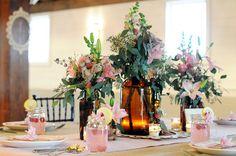 burlap + glitter flower centerpieces