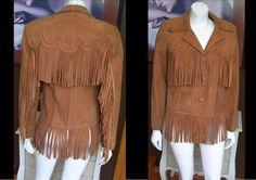 .Vintage 1950s Golden State Western Wear Brown Tan Suede Fringe Jacket Scallop Detail Unisex by WestCoastVintageRSL, $128.00