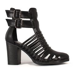 Black Strappy Buckle Almond Toe Heel Vegan Leather