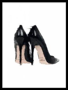 Jimmy Choo, poster. Poster med modeillustration. Snygg poster med skor, höga svarta designerpumps. Riktigt trendig inredning. Snyggt att kombinera fler i ett collage, till exempel med andra modetavlor eller svartvita posters.