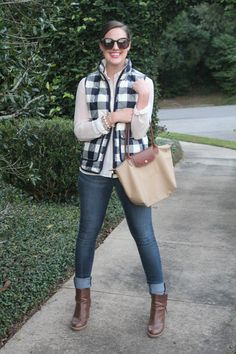 Buffalo check excursion vest and booties via With Style and a Little Grace