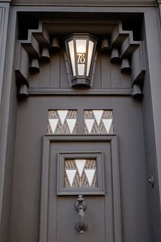 Front door, 78 Derngate. Northampton, Feb 2014. 78 Derngate is the Charles Rennie Mackintosh House, now a British Museum