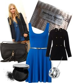 """Cara Delevingne Blue Dress Outfit"" by ellievdw on Polyvore"