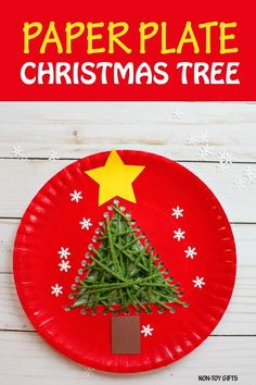 Paper plate Christmas tree made with yarn. A fun sewing craft for kids to do this winter. | at Non-Toy Gifts