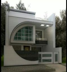 Pin by mike olivier on art deco house, house design, modern house desig Bungalow House Design, House Front Design, Modern House Design, Exterior Wall Design, Facade Design, Front Elevation Designs, House Elevation, Home Map Design, House Map