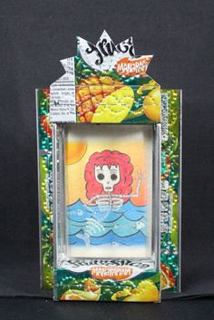 Day of the Dead Mermaid - Recycled Tin Can Reliquary Niche Mexican Shabby Chic