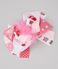 Take a look at this Pink & White Cupcake Feather Bow Clip by Swank Kouture on #zulily today!