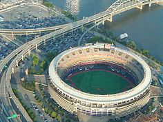 Three Rivers Stadium-Built 1970 & Imploded 2001. This is the exact aerial view that I dreamed of the proposed image in, but this is the one that was actually built.