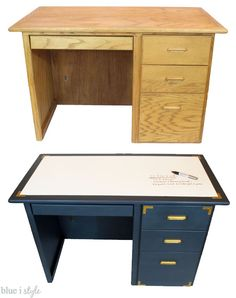 A dated oak desk gets a glam navy and gold makeover, complete with campaign hardware and a super functional dry erase painted desktop!