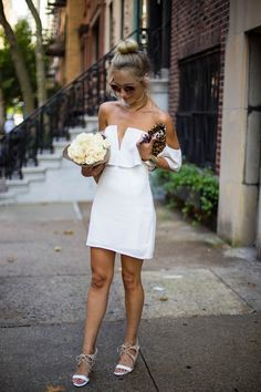 Outfit Inspiration: White Off The Shoulder Dress via @katiesbliss