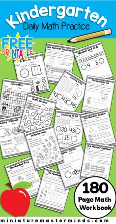 Kindergarten Daily Math Practice Worksheets 180 Page Work Book This is a book with 180 different worksheets to practice Kindergarten Math Skills. In it you will find pages that cover everything fro… Math Practice Worksheets, Math Workbook, Free Kindergarten Worksheets, Kindergarten Letter Activities, Number Worksheets, Free Worksheets, Preschool Printables, Learning Activities, Kindergarten Morning Work