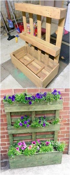 Right through this image we would be sharing the dramatic use of the wood pallet for the fine-looking manufacturing of the planter piece. This planter design outlook has been attached with the fixtures of the shelving portions which can be adorned with fresh flowers.