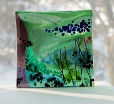 Fused Glass Art Plate The Sea