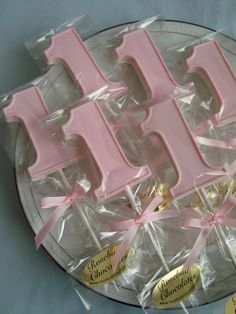 12 NUMBER ONE Chocolate Lollipops Candy Party Favors Babys First Birthday 1 Dessert Table Pink Satin Ribbon Bow