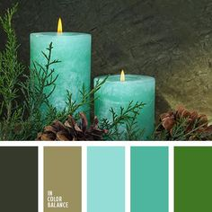 Color Palette #1768 | Cool shades of turquoise and bright green color  with gentle olive green