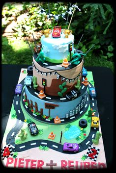 Cars themed birthday cake - Interactive cake - cars are toys for kids to play with, all other fondant details loose for them to play with or eat :-)