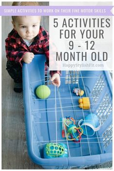 Simple activities for your 9 - 12 month old baby. Keep your little entertained while they work on their fine motor skills. activities 5 Activities for 9 - 12 Month Olds - Relatable Motherhood - Jannine MacKinnon 9 Month Old Baby Activities, Toddler Learning Activities, Motor Activities, Infant Activities, Baby Room Activities, Baby Activites, Family Activities, Baby Sensory Play, Baby Play